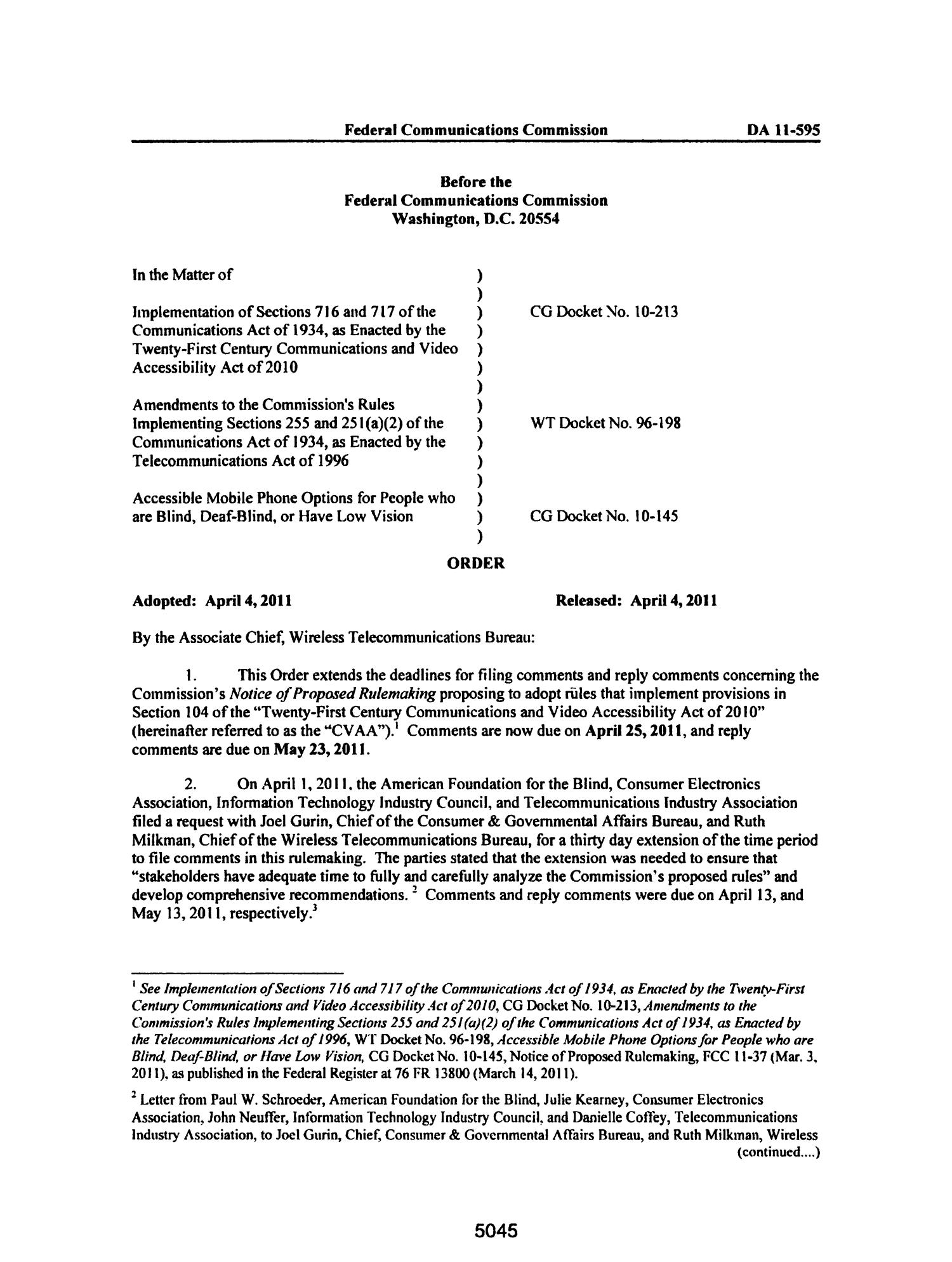 FCC Record, Volume 26, No. 7, Pages 4843 to 5761, March 28 - April 08, 2011                                                                                                      5045