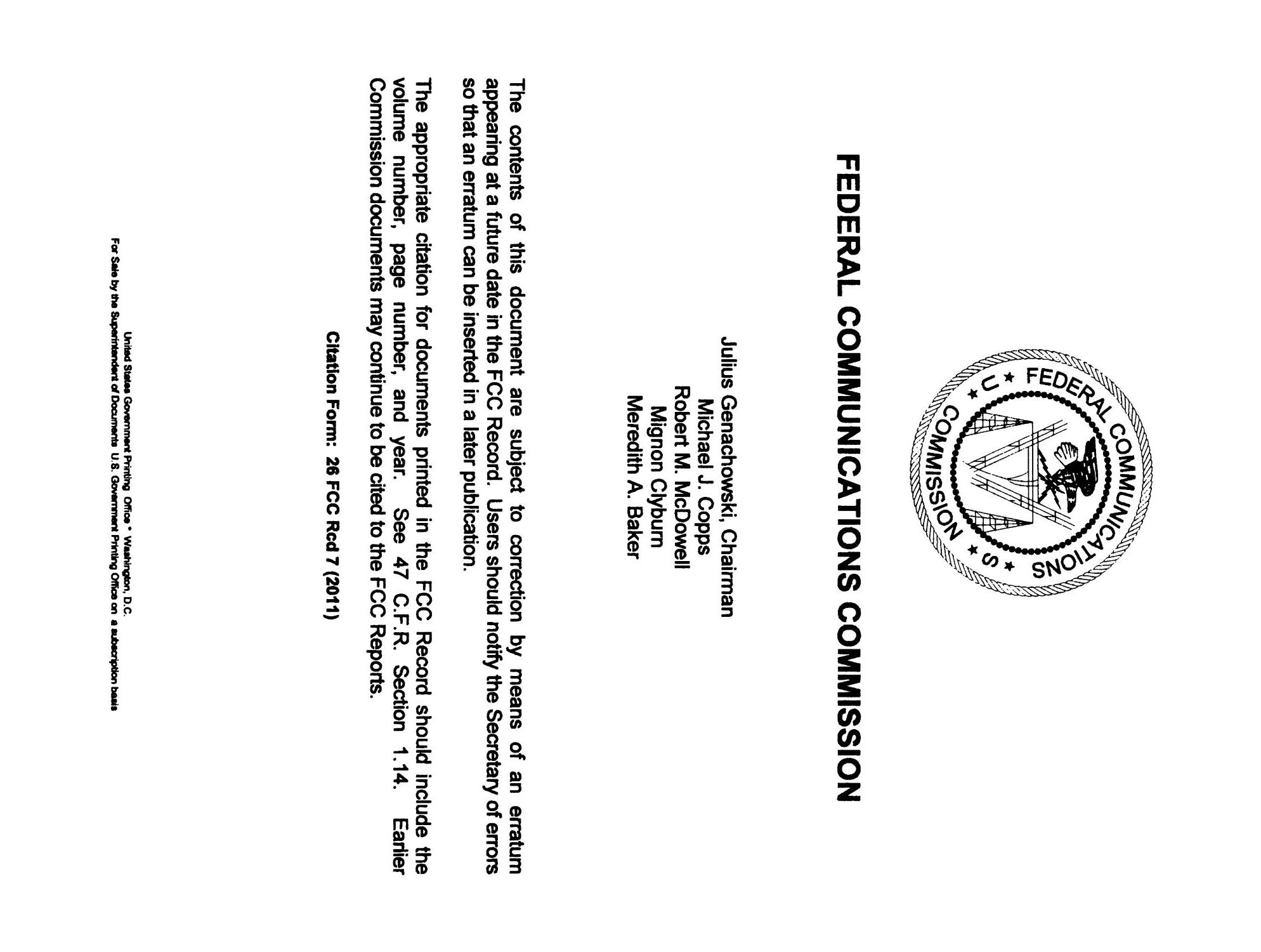 FCC Record, Volume 26, No. 7, Pages 4843 to 5761, March 28 - April 08, 2011                                                                                                      None
