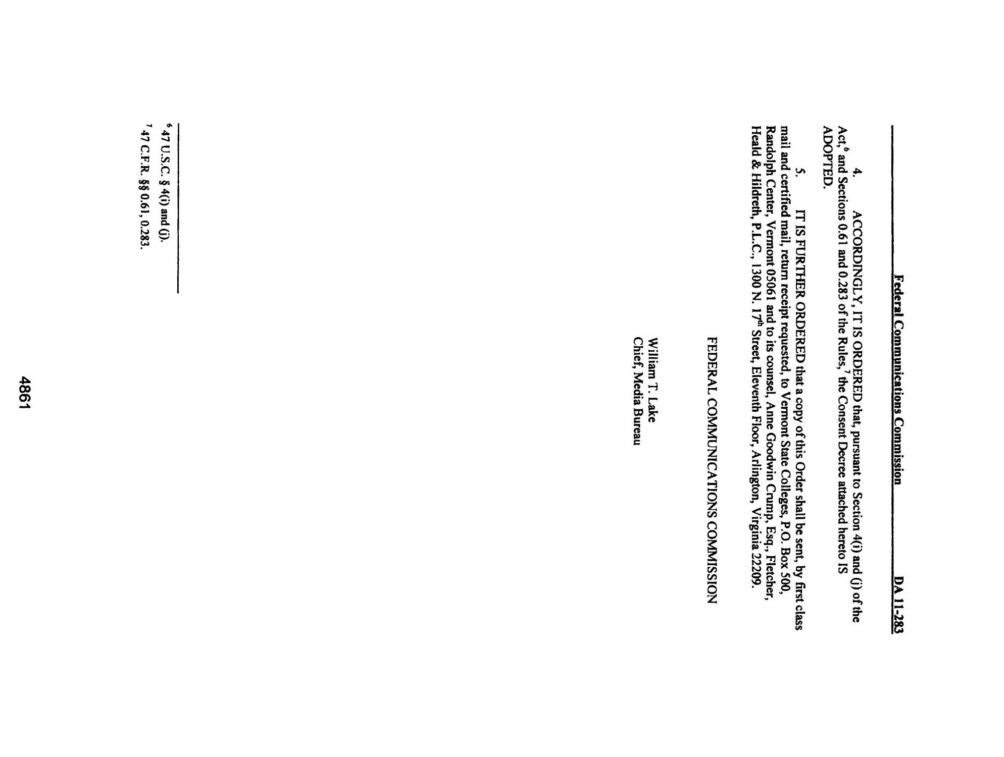 FCC Record, Volume 26, No. 7, Pages 4843 to 5761, March 28 - April 08, 2011                                                                                                      4861