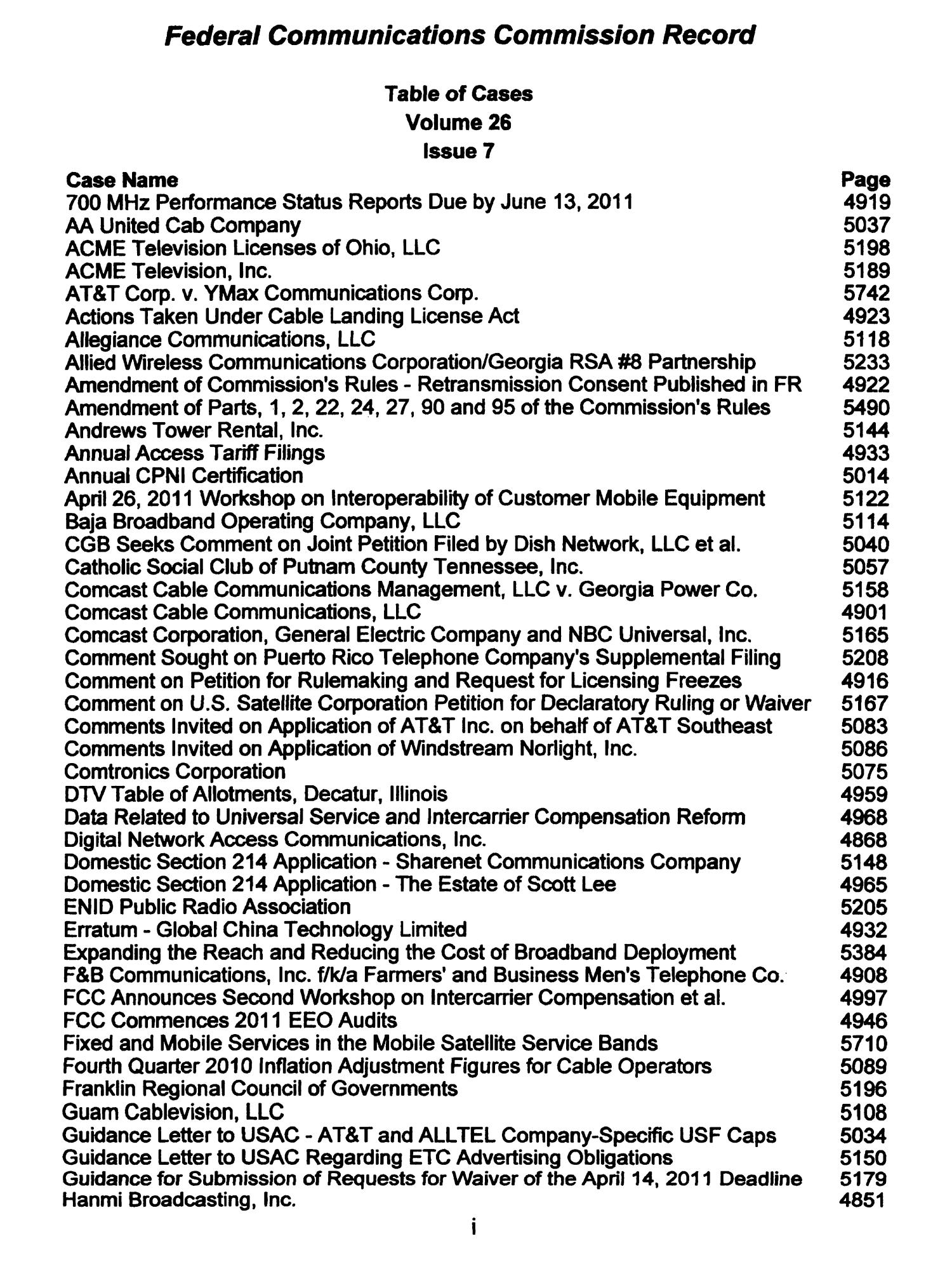 FCC Record, Volume 26, No. 7, Pages 4843 to 5761, March 28 - April 08, 2011                                                                                                      I