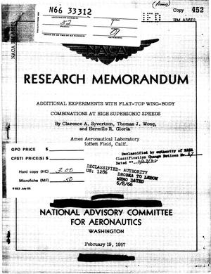 Primary view of object titled 'Additional experiments with flat-top wing- body combinations at high supersonic speeds'.
