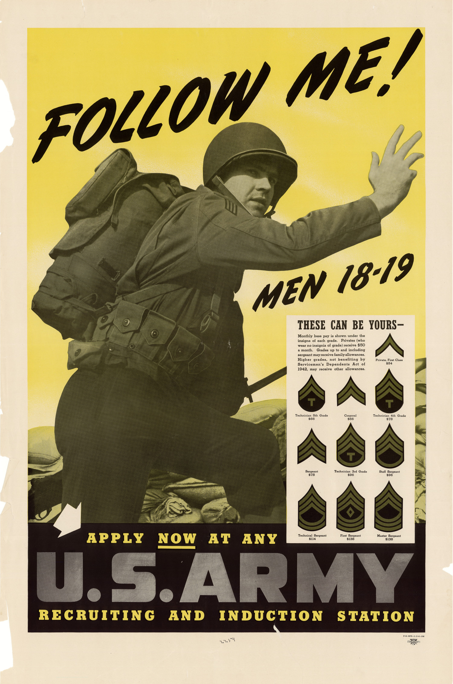 Follow me men 18 19 these can be yours apply now at any u s army recruiting and induction station digital library