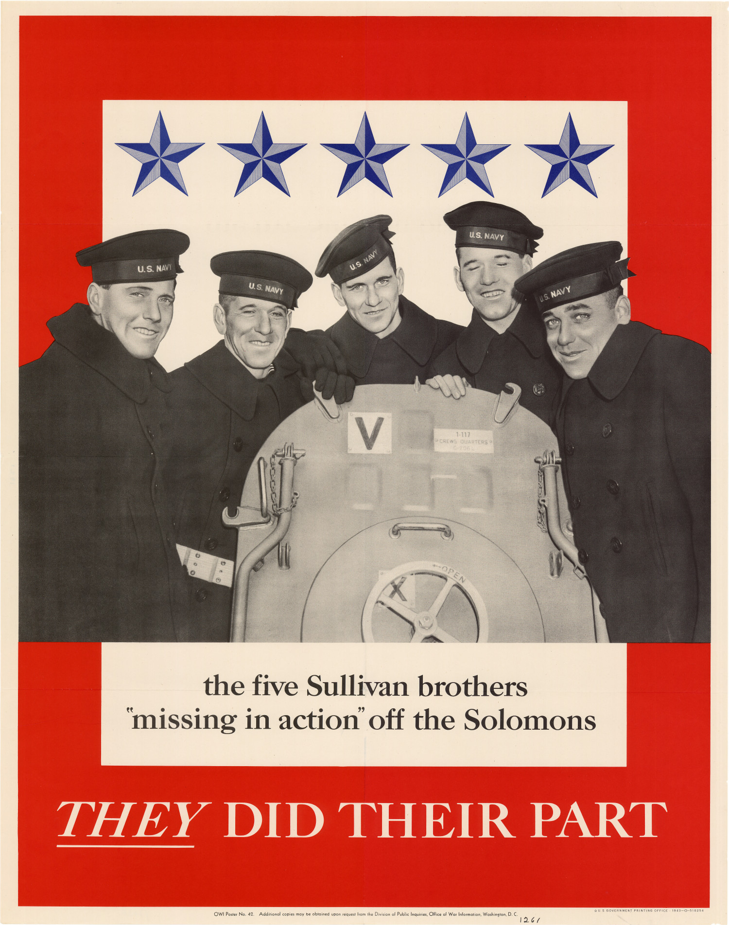 "The five Sullivan brothers, ""missing in action"" off the Solomons : they did their part.                                                                                                      [Sequence #]: 1 of 1"