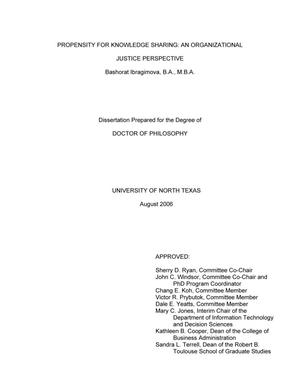 Primary view of object titled 'Propensity for knowledge sharing: An organizational justice perspective.'.