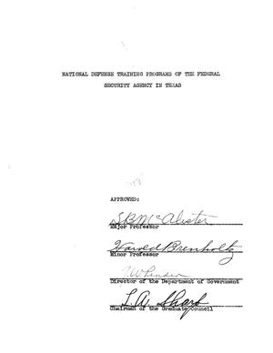 Primary view of object titled 'National Defense Training Programs of the Federal Security Agency in Texas'.