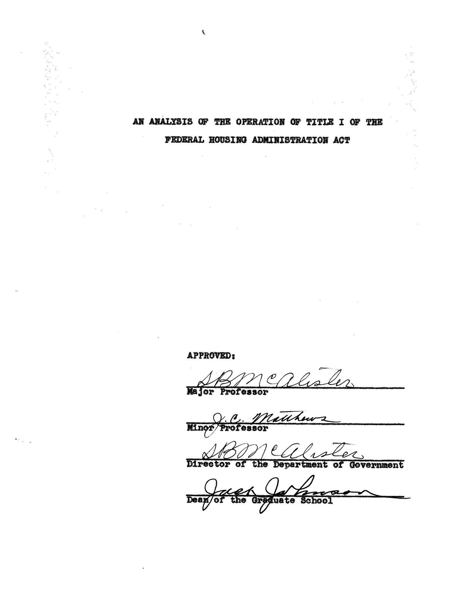 An Analysis of the Operation of Title I of the Federal Housing Administration Act                                                                                                      Title Page