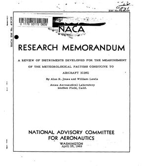 Primary view of object titled 'A review of instruments developed for the measurement of the meteorological factors conductive to aircraft icing'.