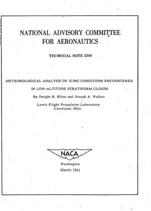 Primary view of object titled 'Meteorological Analysis of Icing Conditions Encountered in Low-Altitude Stratiform Clouds'.