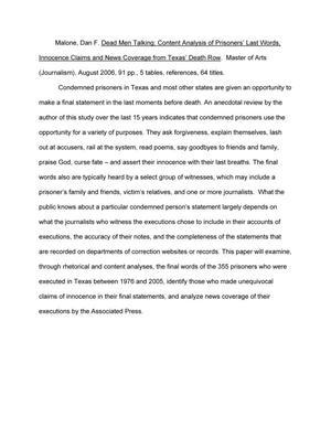 Dead Men Talking: Content Analysis of Prisoners' Last Words