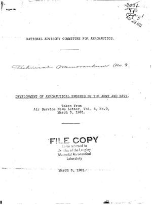 Primary view of object titled 'Development of aeronautical engines by the Army and Navy'.