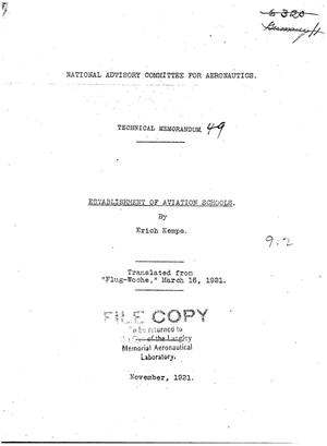 Primary view of object titled 'Establishment of Aviation Schools'.