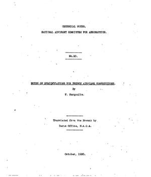 Primary view of object titled 'Notes on specifications for French airplane competitions'.