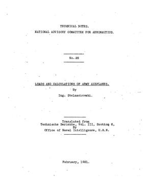 Primary view of object titled 'Loads and calculations of army airplanes'.
