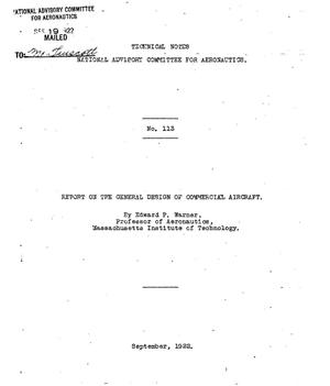 Primary view of object titled 'Report on the general design of commercial aircraft'.