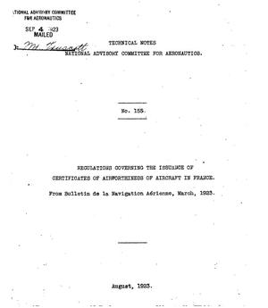 Primary view of object titled 'Regulations governing the issuance of certificates of  airworthiness of aircraft in France'.