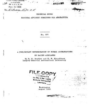 Primary view of object titled 'A preliminary determination of normal accelerations on racing airplanes'.