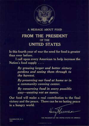 A message about food from the President of the United States.