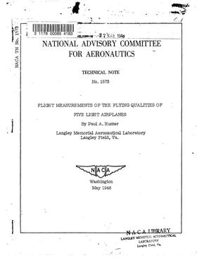 Primary view of object titled 'Flight Measurements of the Flying Qualities of Five Light Airplanes'.