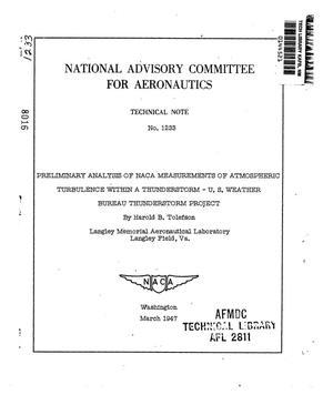 Primary view of object titled 'Preliminary Analysis of NACA Measurements of Atmospheric Turbulence Within a Thunderstorm - U.S. Weather Bureau Thunderstorm Project'.