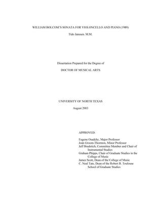 Primary view of object titled 'William Bolcom's Sonata for Violoncello and Piano (1989)'.
