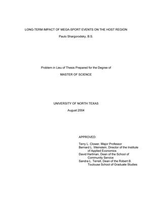 Primary view of object titled 'Long-Term Impact of Mega-Sport Events on the Host Region'.