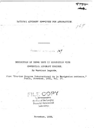 Primary view of object titled 'Definition of terms used in connection with commercial aircraft engines'.