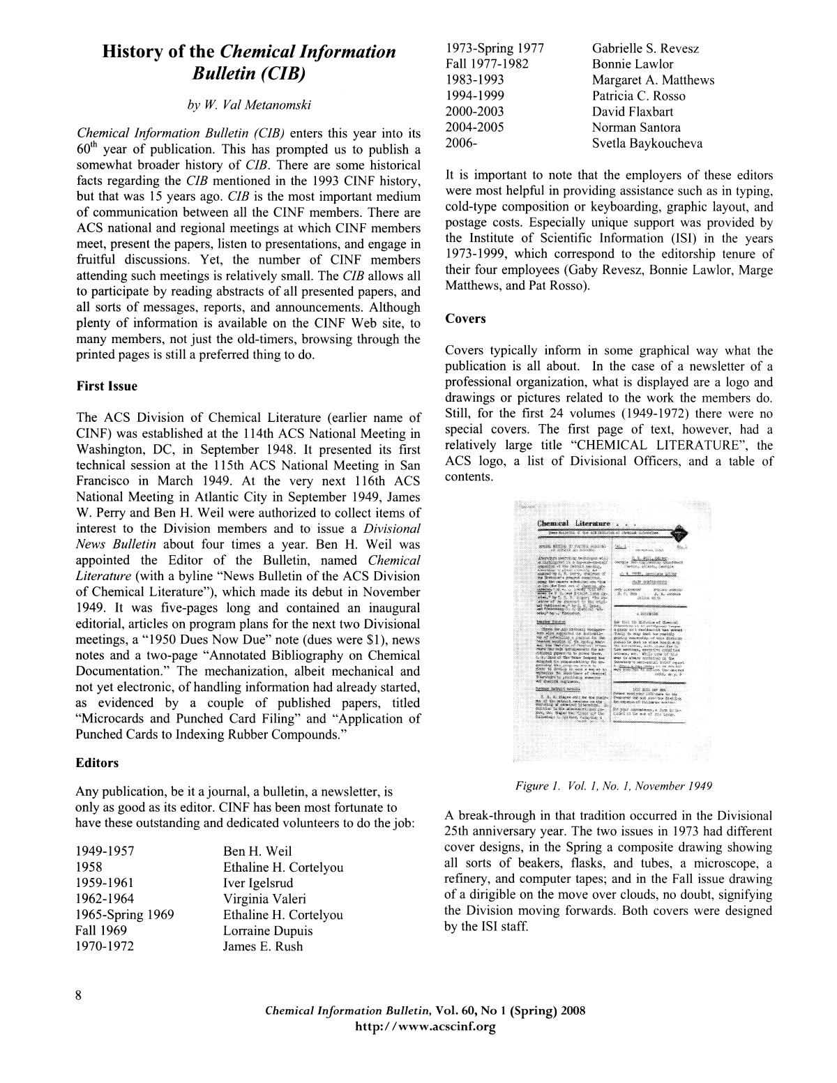 Chemical Information Bulletin, Volume 60, Number 1, Spring 2008                                                                                                      8