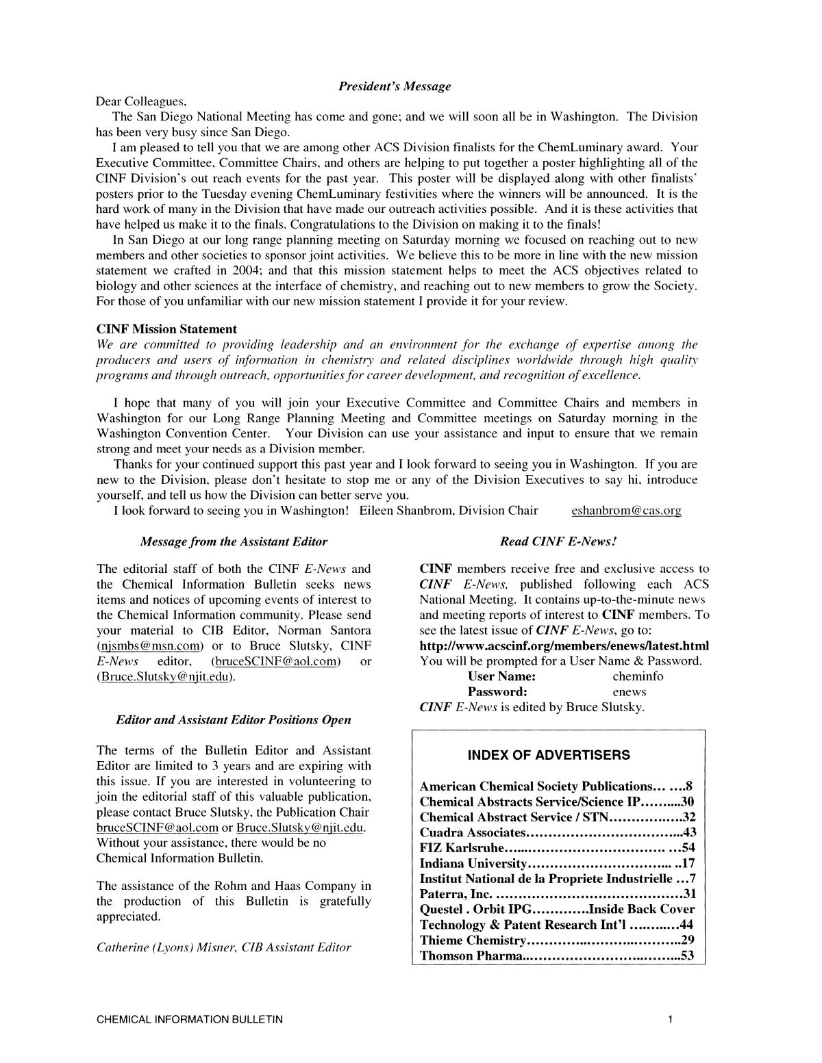 Chemical Information Bulletin, Volume 57 Number 2, Fall 2005                                                                                                      1