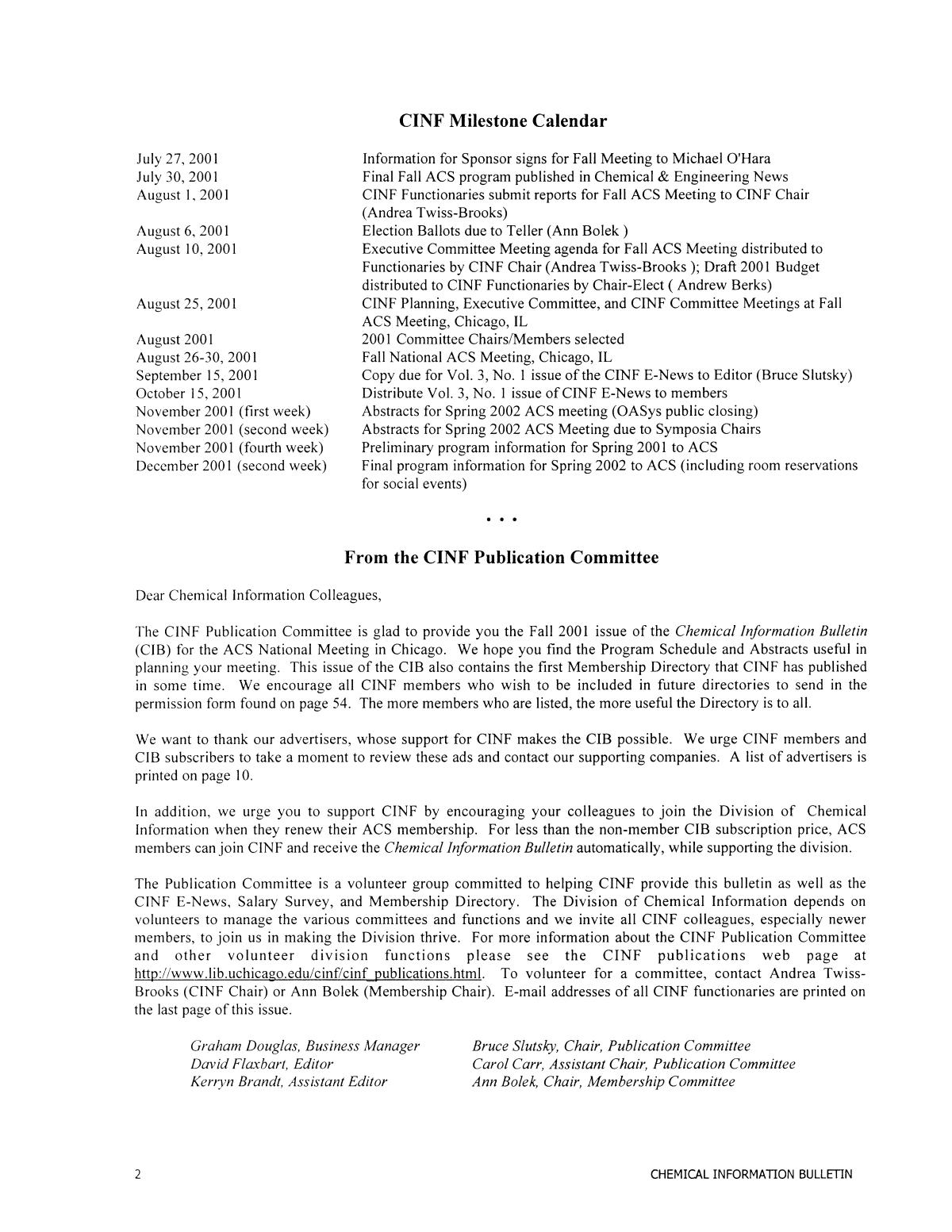 Chemical Information Bulletin, Volume 53 Number 2, Fall 2001                                                                                                      2