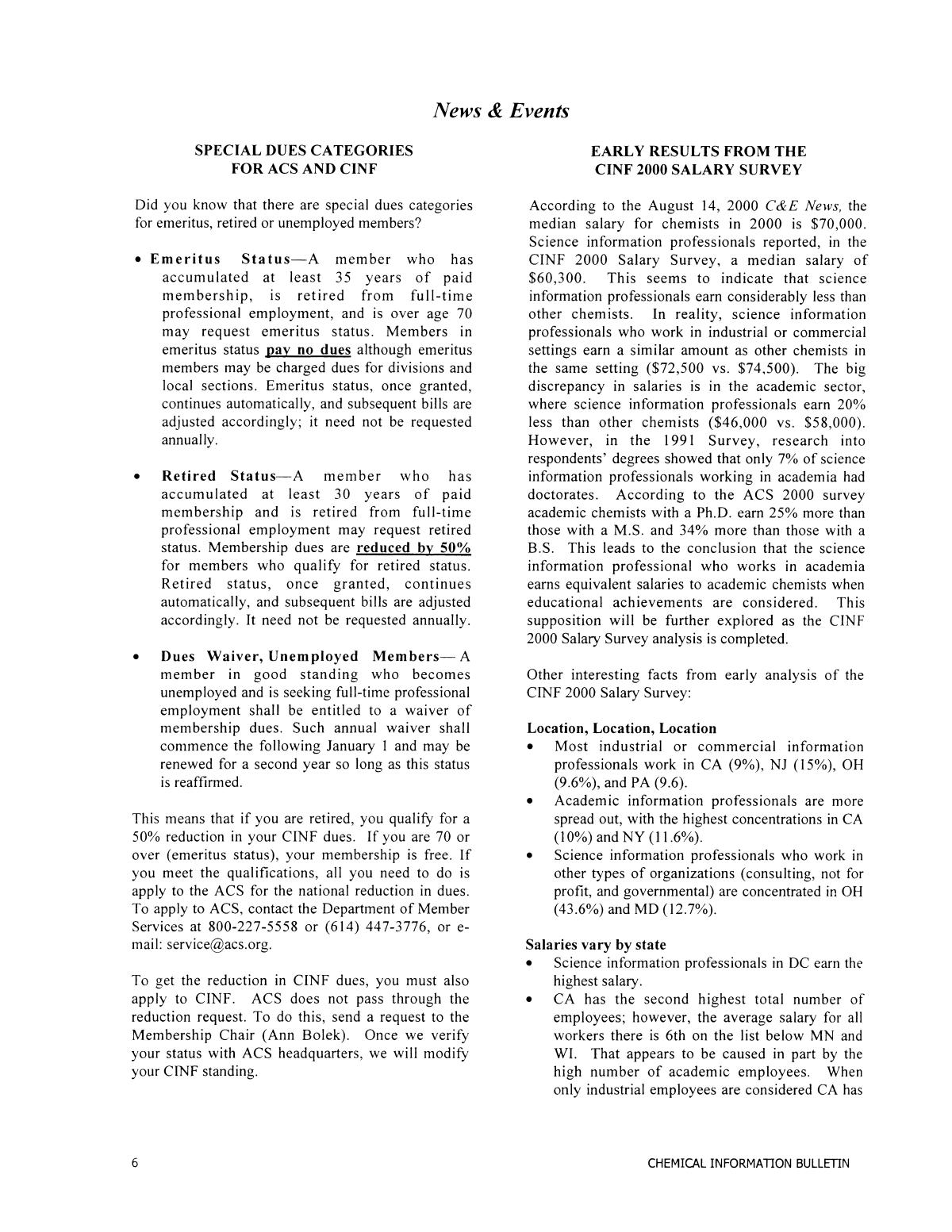 Chemical Information Bulletin, Volume 53 Number 2, Fall 2001                                                                                                      6