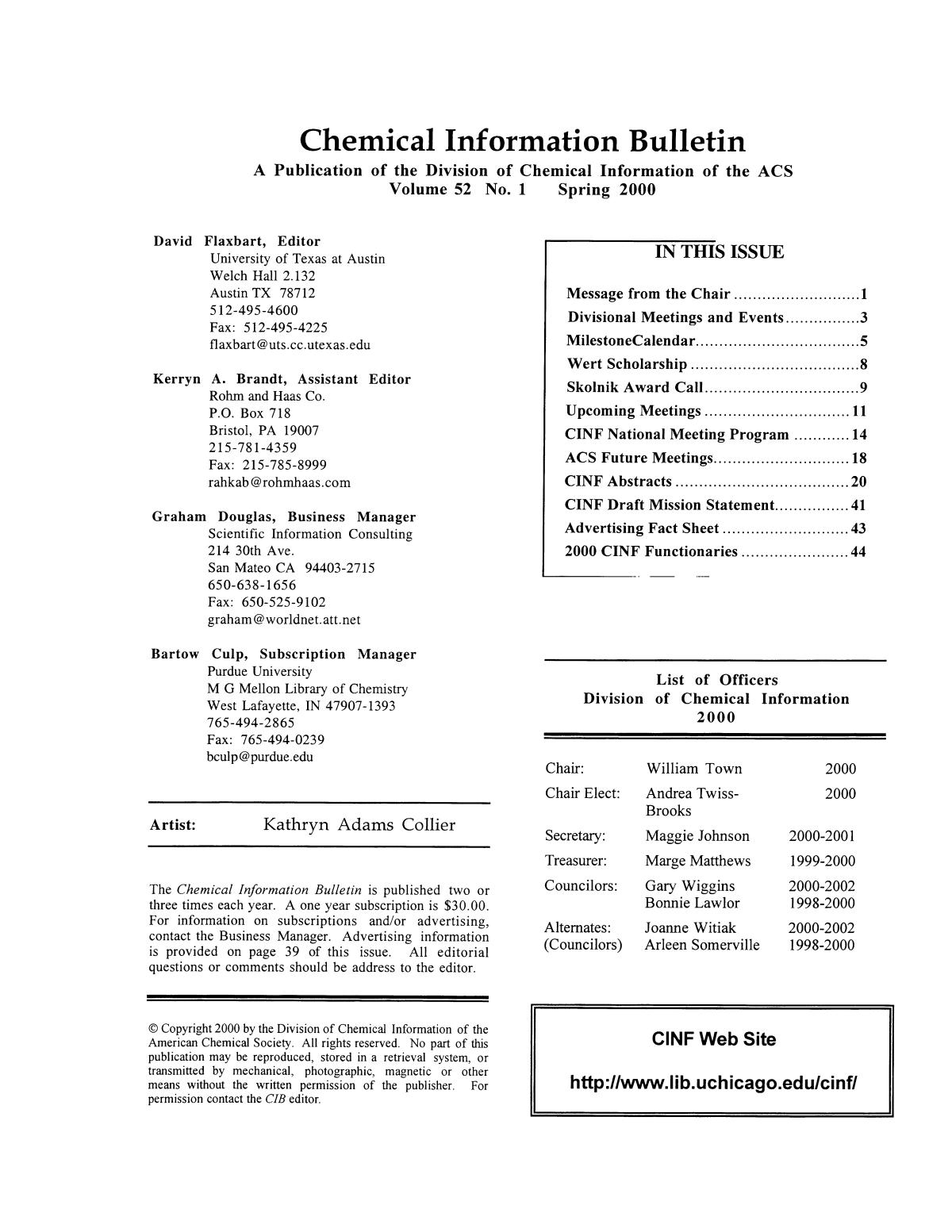 Chemical Information Bulletin, Volume 52, Number 1, Spring 2000                                                                                                      Front Inside
