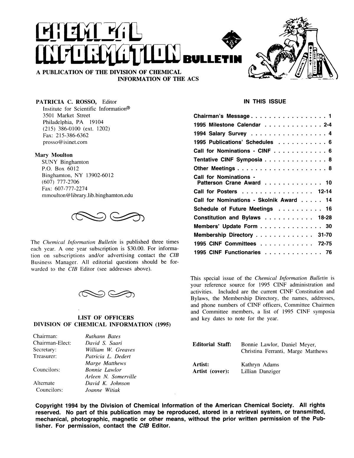 Chemical Information Bulletin, Volume 47, Number 1, January 1995                                                                                                      Front Inside