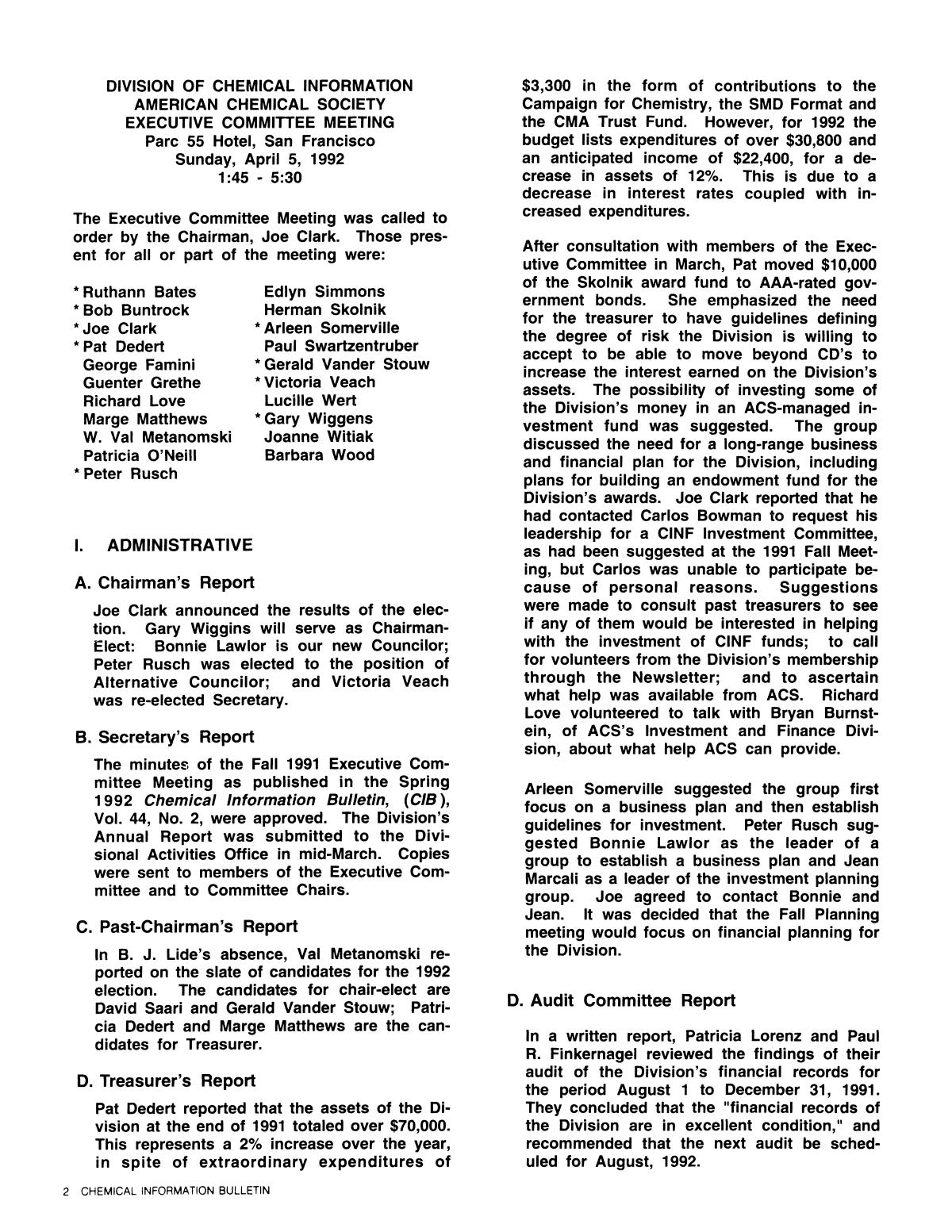 Chemical Information Bulletin, Volume 44, Number 3, Summer 1992                                                                                                      2