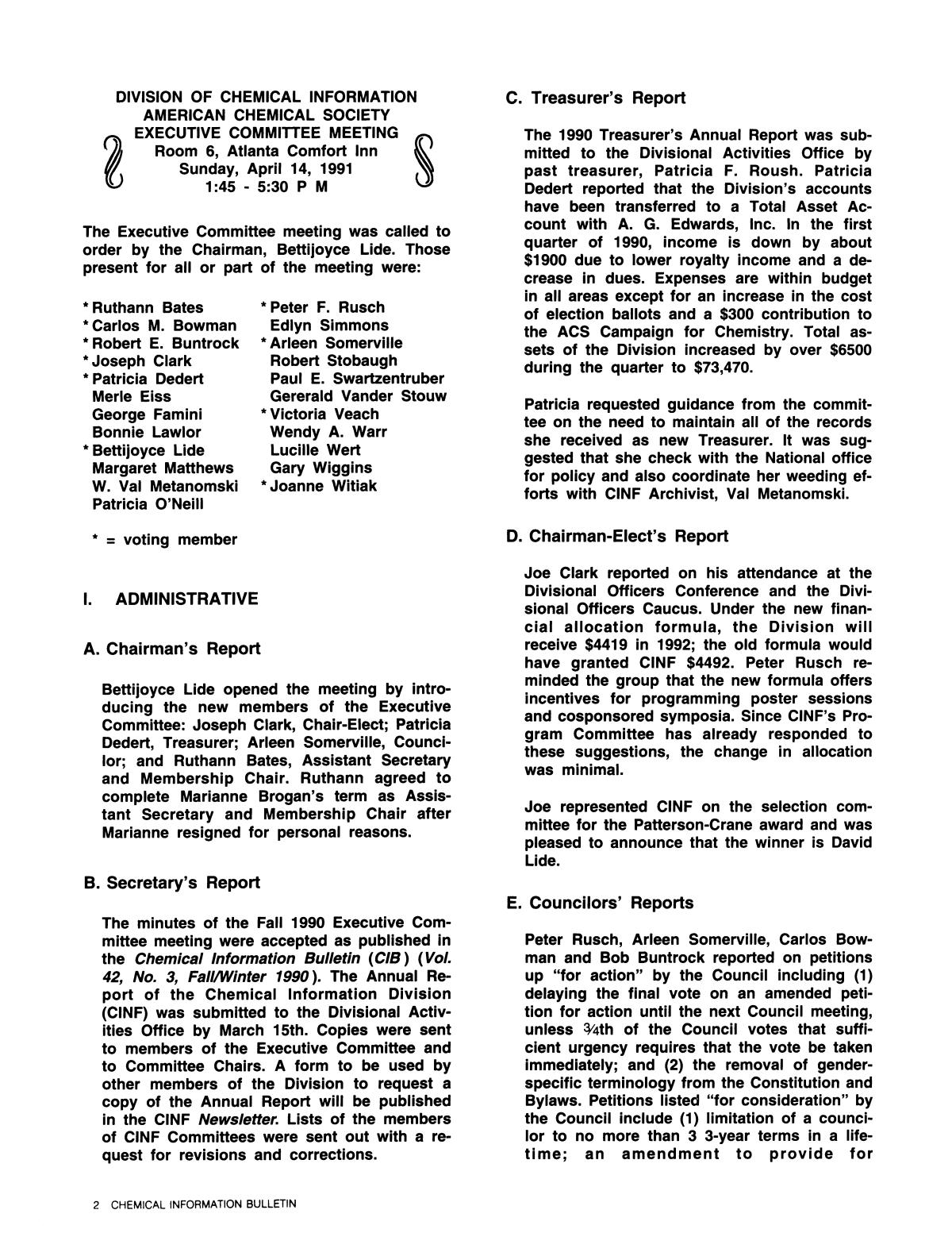 Chemical Information Bulletin, Volume 43, Number 2, Summer 1991                                                                                                      2