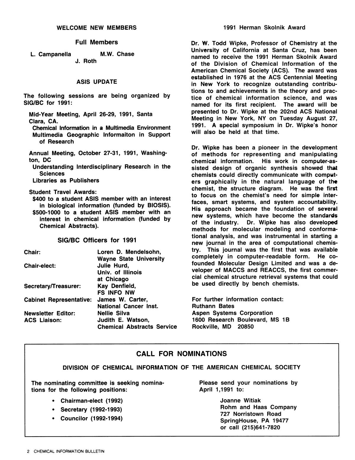 Chemical Information Bulletin, Volume 43, Number 1, Spring 1991                                                                                                      2