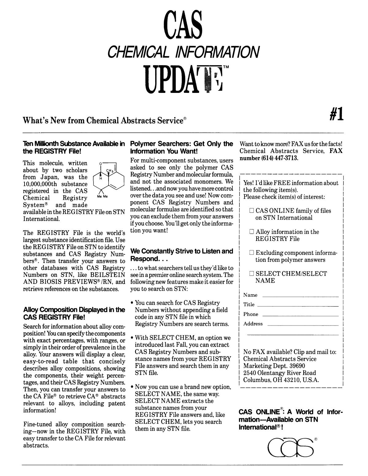 Chemical Information Bulletin, Volume 42, Number 3, Fall/Winter 1990                                                                                                      3