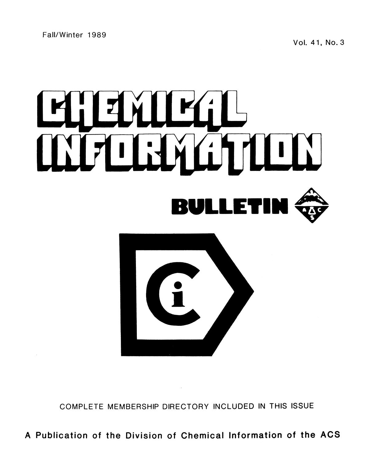 Chemical Information Bulletin, Volume 41, Number 3, Fall/Winter 1989                                                                                                      Front Cover