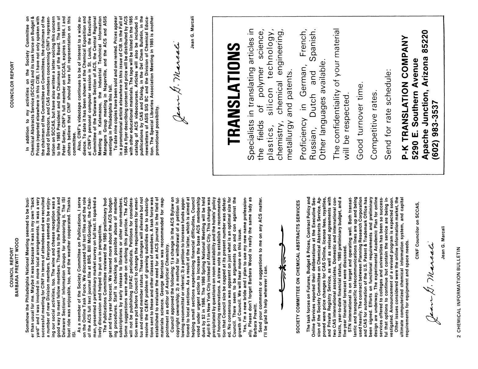 Chemical Information Bulletin, Volume 36, Number 3, Fall/Winter 1984                                                                                                      2