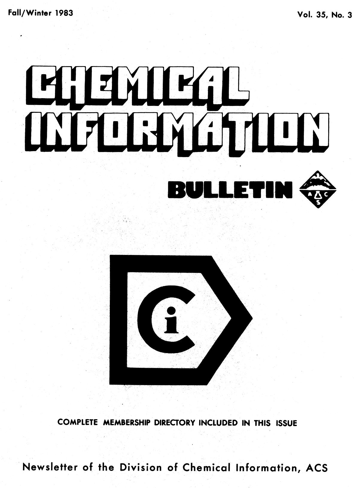 Chemical Information Bulletin, Volume 35, Number 3, Fall/Winter 1983                                                                                                      Front Cover