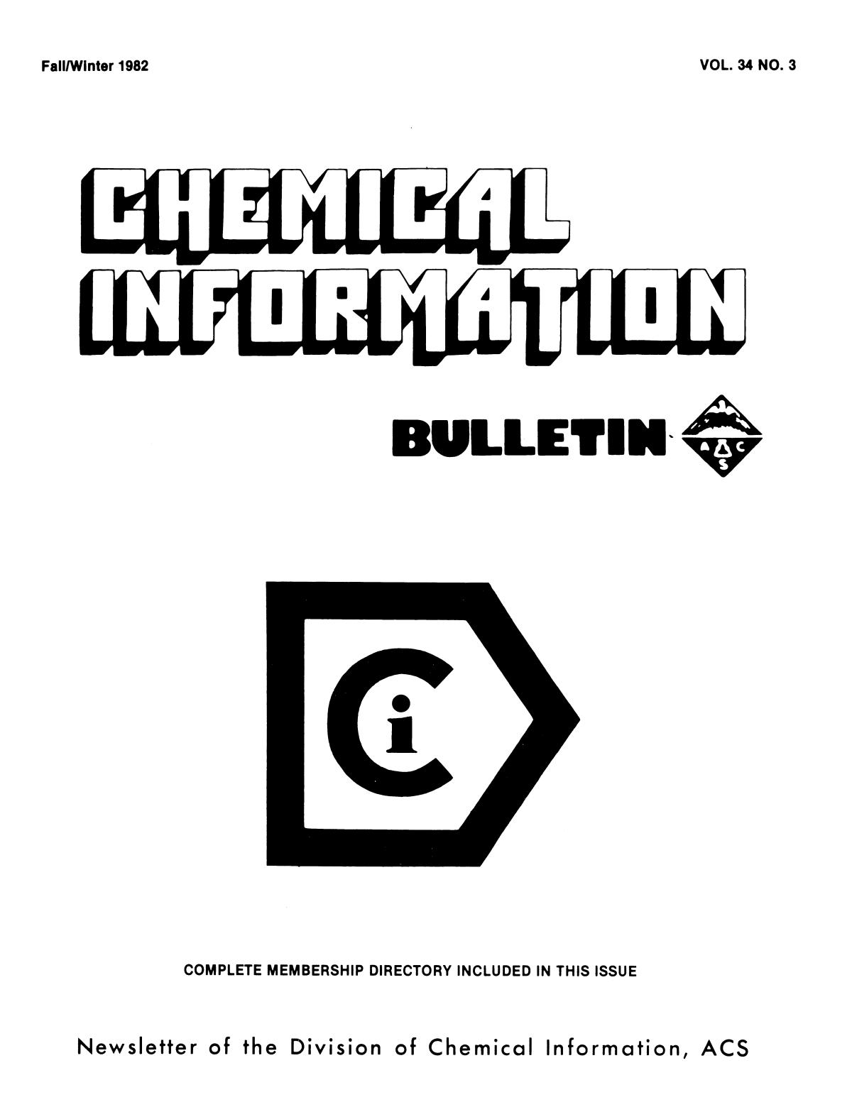 Chemical Information Bulletin, Volume 34, Number 3, Fall/Winter 1982                                                                                                      Front Cover