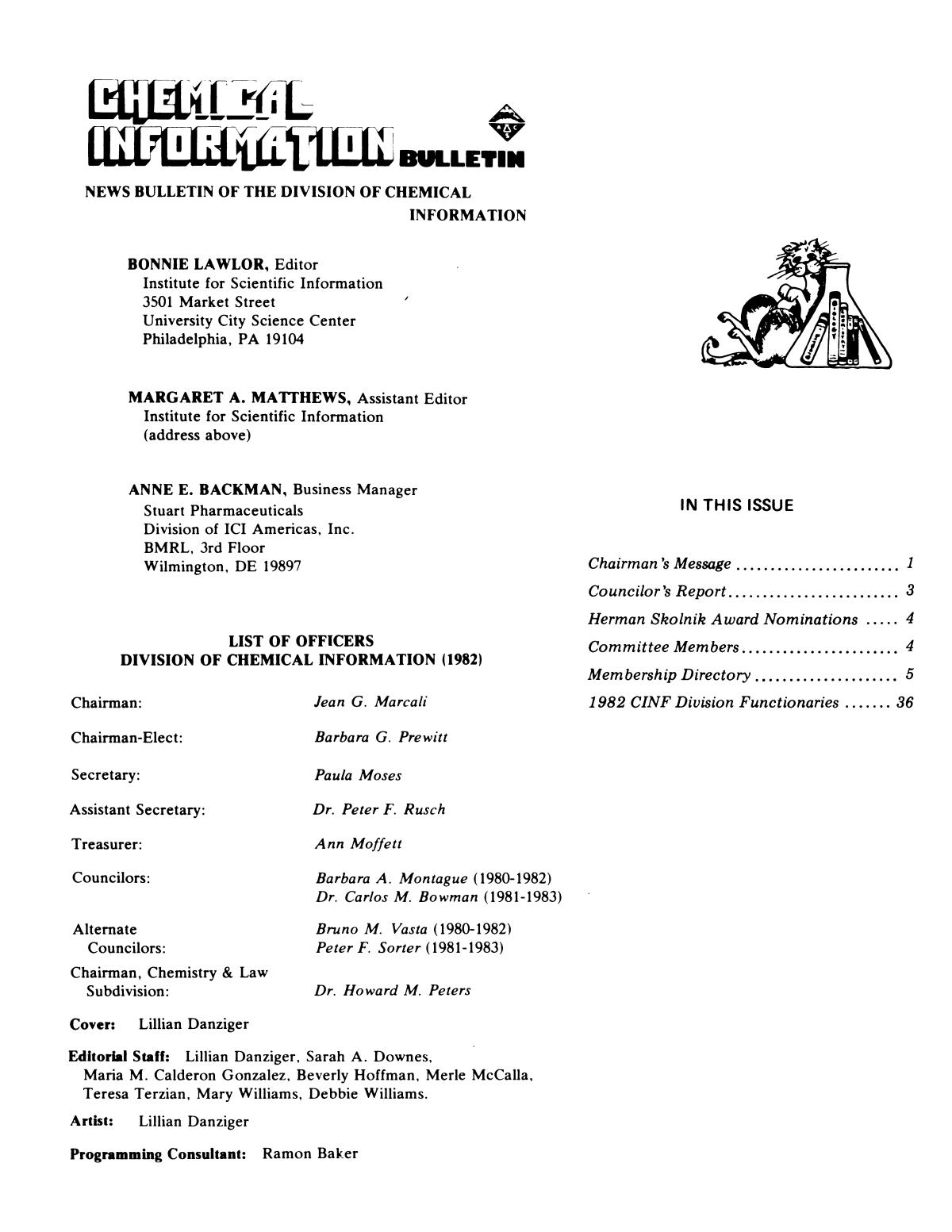 Chemical Information Bulletin, Volume 34, Number 3, Fall/Winter 1982                                                                                                      None