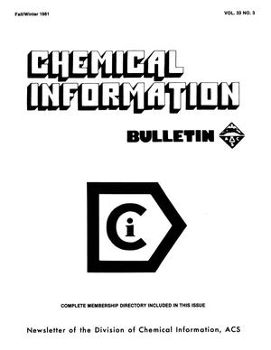 Primary view of object titled 'Chemical Information Bulletin, Volume 33, Number 3, Fall/Winter 1981'.