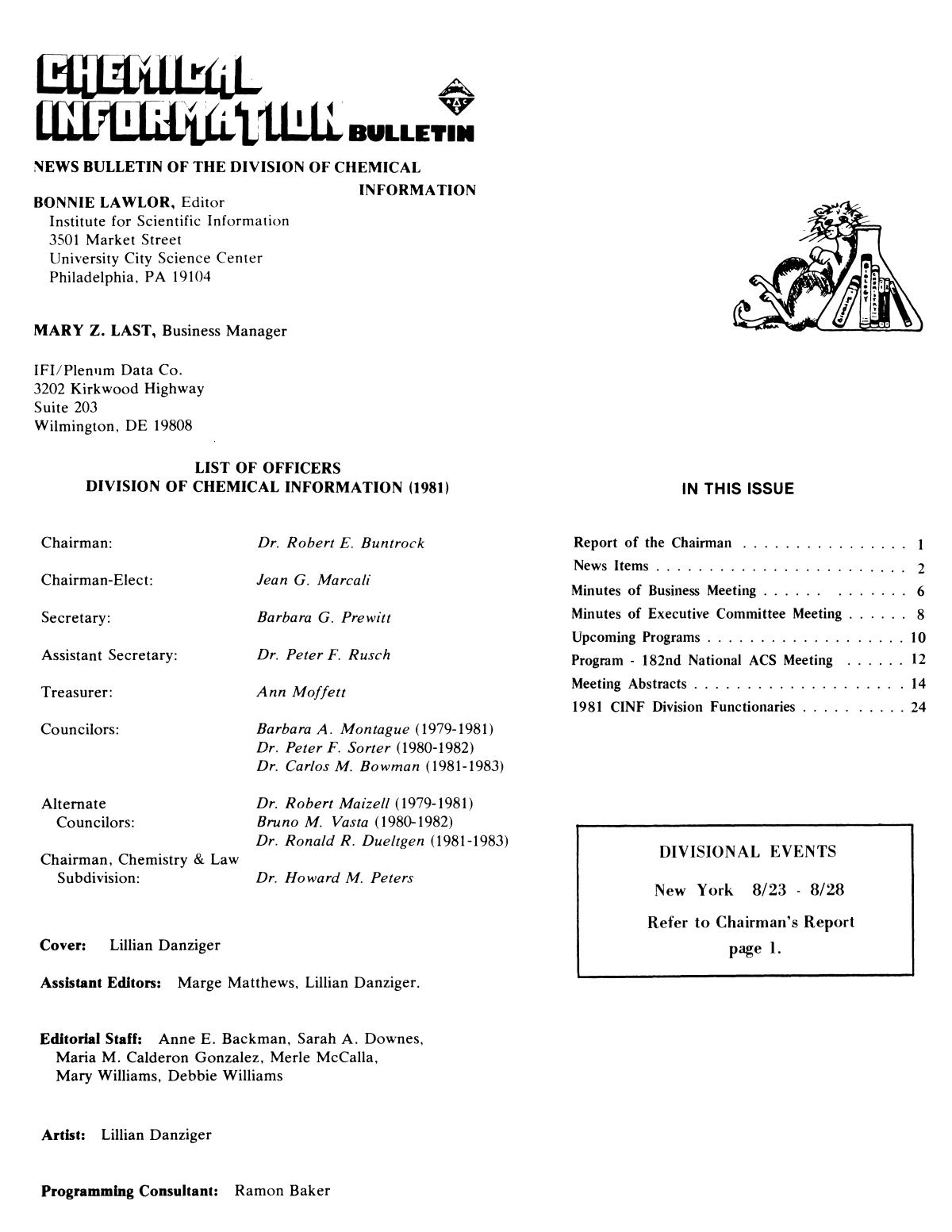 Chemical Information Bulletin, Volume 33, Number 2, Summer 1981                                                                                                      None