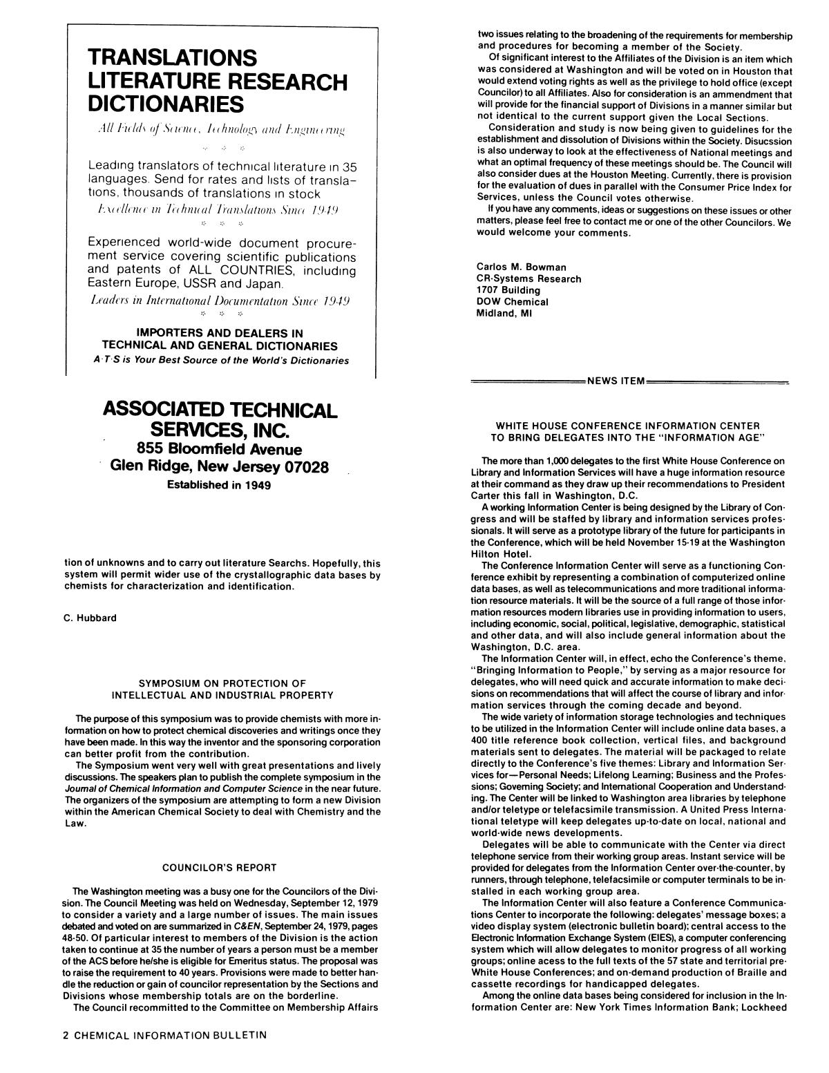 Chemical Information Bulletin, Volume 31, Number 3, Fall/Winter 1979                                                                                                      2