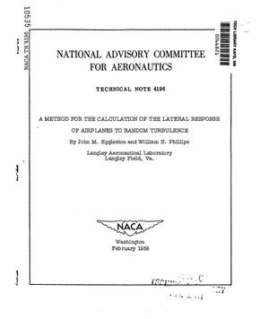 Primary view of object titled 'A method for the calculation of the lateral response of airplanes to random turbulence'.