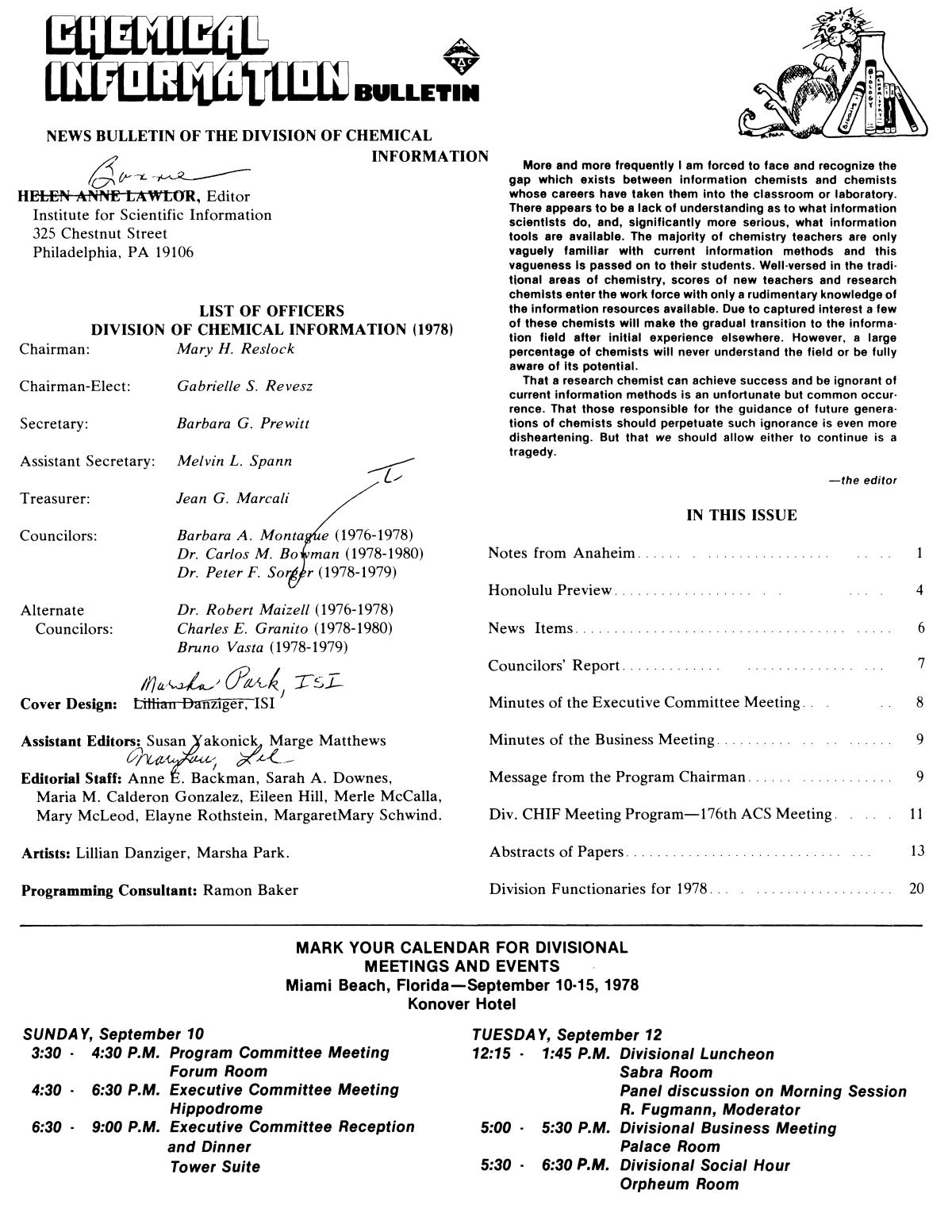 Chemical Information Bulletin, Volume 30, Number 2, Summer 1978                                                                                                      None