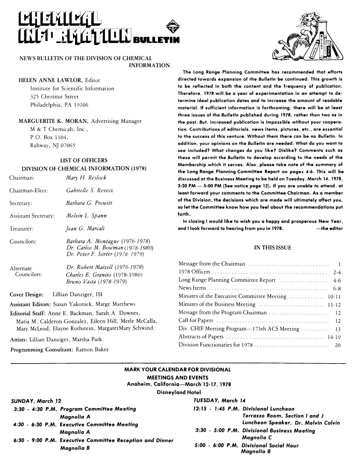 Chemical Information Bulletin, Volume 30, Number 1, Spring 1978                                                                                                      None