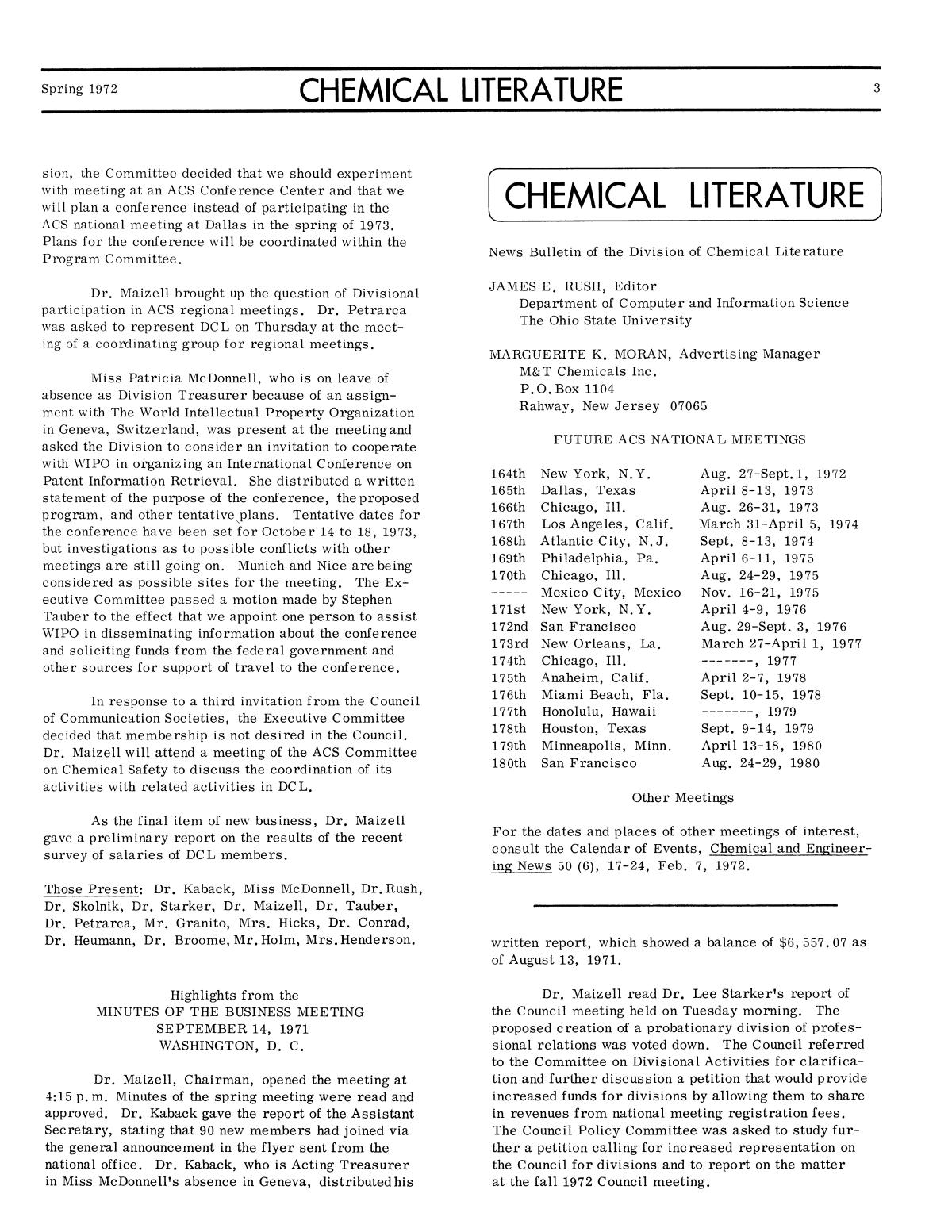 Chemical Literature, Volume 24, Number 1, Spring 1972                                                                                                      3