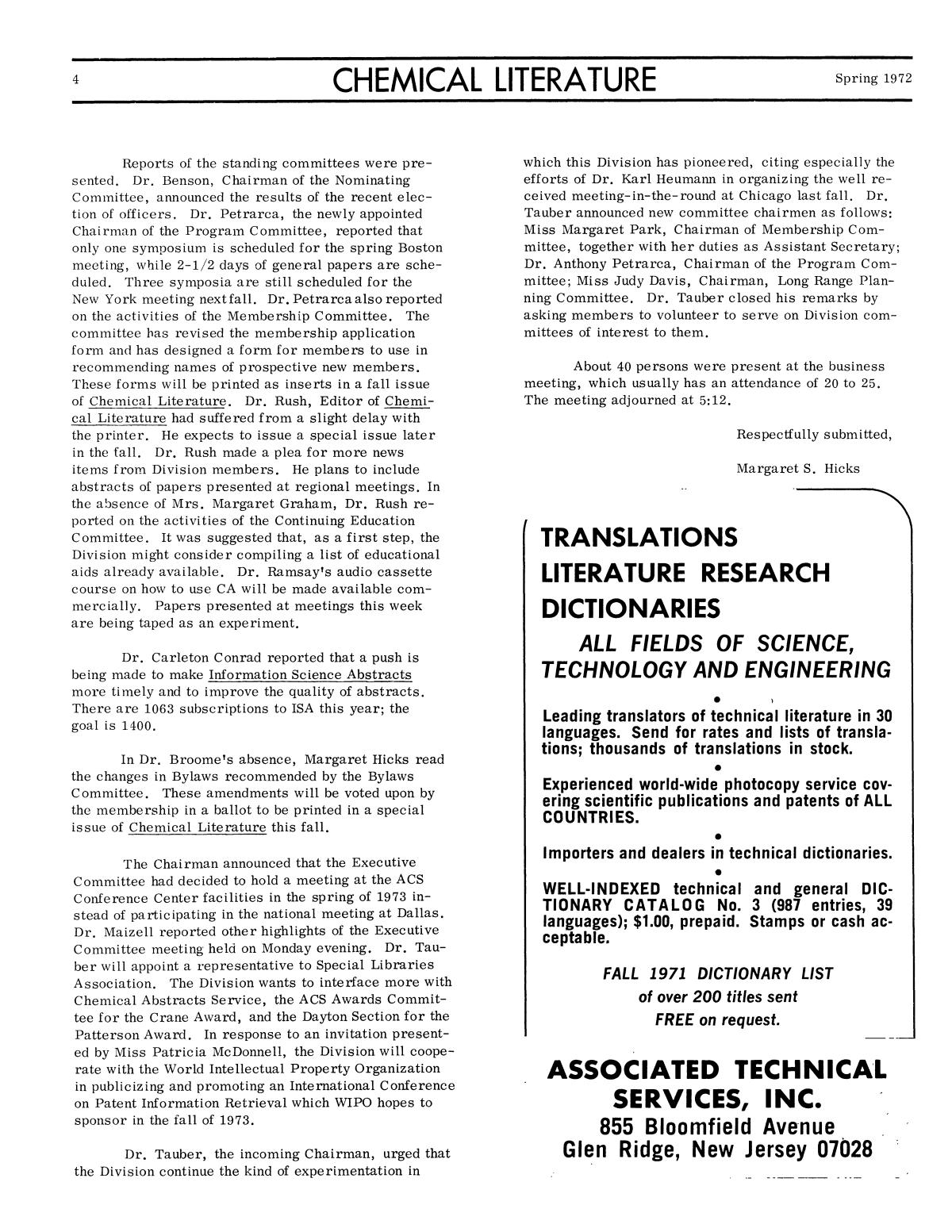 Chemical Literature, Volume 24, Number 1, Spring 1972                                                                                                      4
