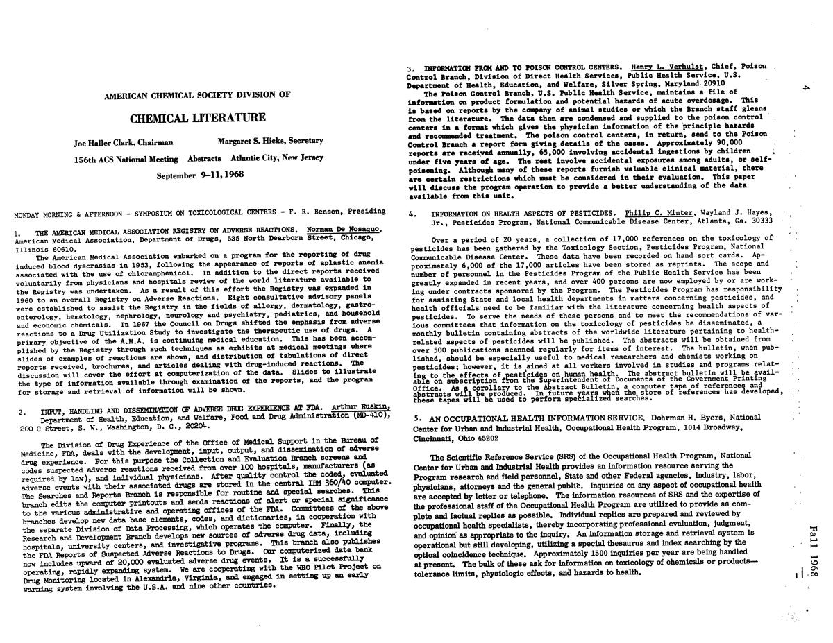 Chemical Literature, Volume 20, Number 2, Fall 1968                                                                                                      4